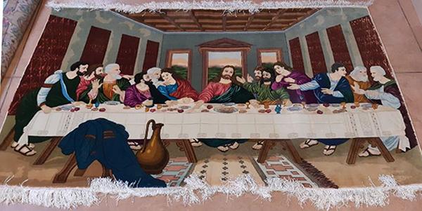 Cenacolo di Leonardo realizato in un tappeto Tabriz.