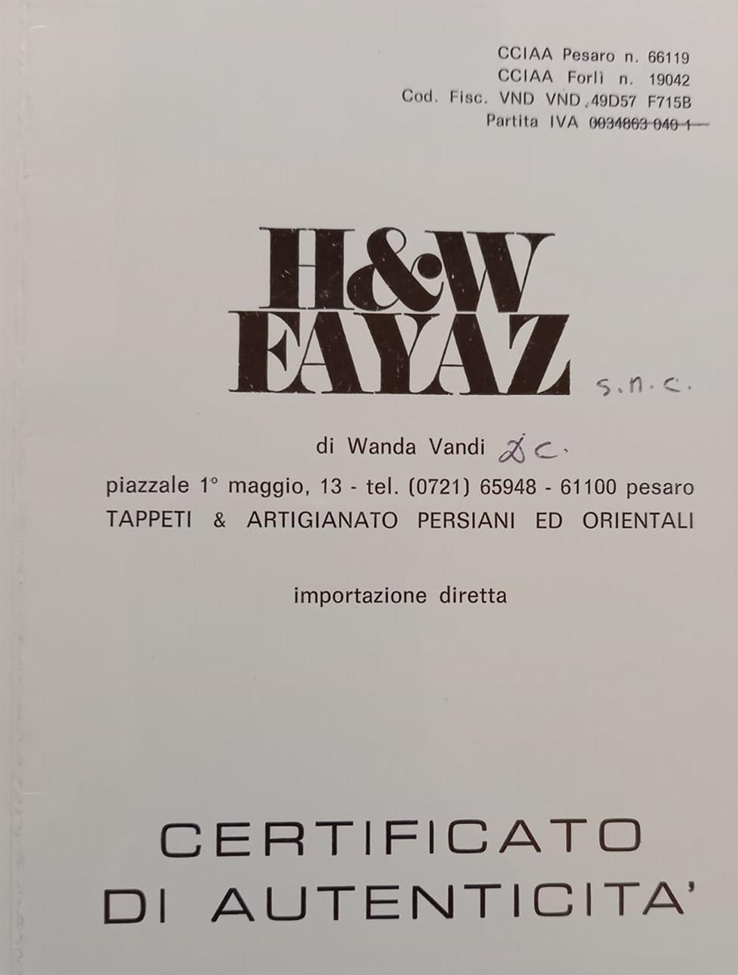 N. 10808 Kashmar, Iran, copertina certificato di autenticità della Ditta H&W FAYAZ.